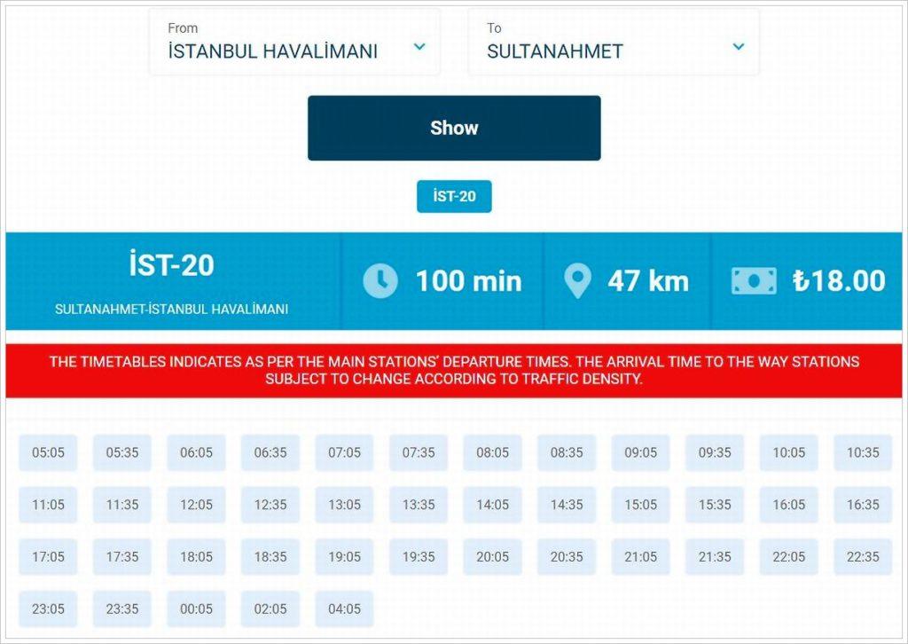 Расписание автобусов из аэропорта до Султанахмета