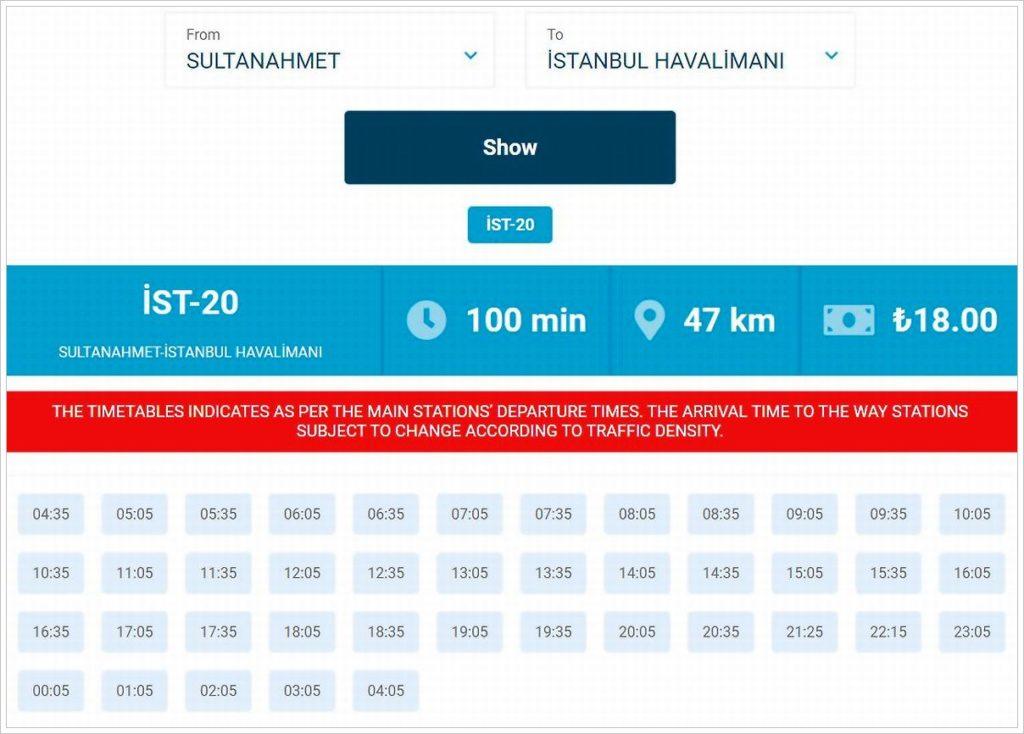 Расписание автобусов от Султанахмета до аэропорта